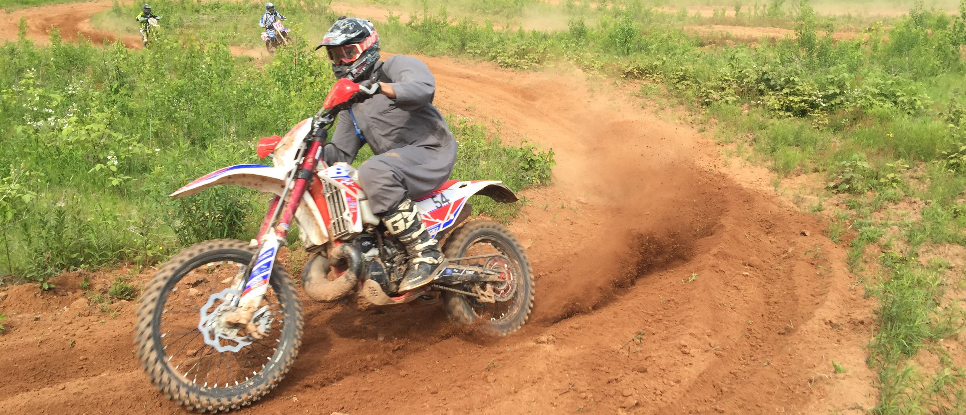 Charging Hard on the moto portion of the Hare Scramble race course